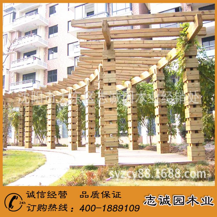 精品展示 碳化木花架 多层碳化木花架 室外碳化木花架示例图3