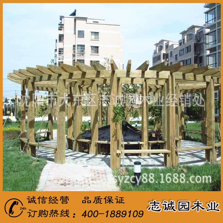 精品展示 碳化木花架 多层碳化木花架 室外碳化木花架示例图1