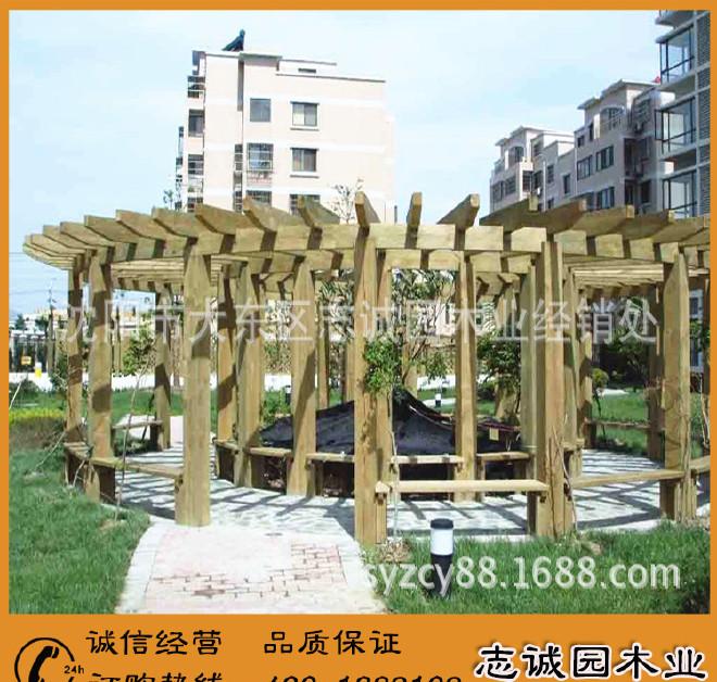精品展示 碳化木花架 多层碳化木花架 室外碳化木花架