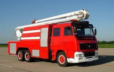 斯太尔双桥举高喷射消防车|高空远程消防泡沫车价格图片