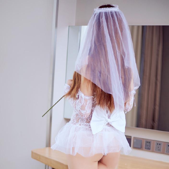 睡衣头纱透明新娘睡裙蕾丝吊带情趣内衣性感套装网纱薄纱v睡衣7109情趣用品沈阳外卖图片