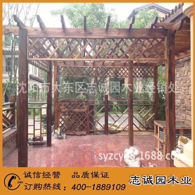精品展示 碳化木花架 多层碳化木花架 室外碳化木花架示例图2