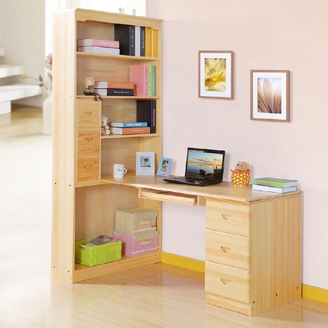 松木实木电脑桌家用转角台式电脑桌带书柜写实木字台书桌组合书柜